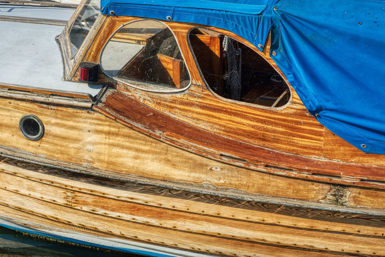 High angle view of old boat