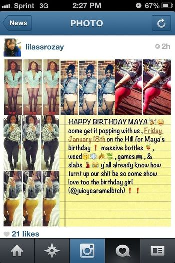 Come turn up with me for my birthday on January 18th on the hill.. Hit me for info