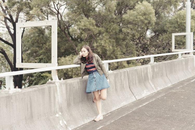 Full length of woman on bridge