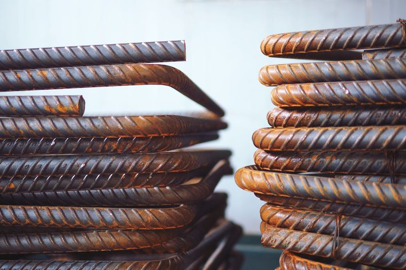 Close-up of stacked metal rods
