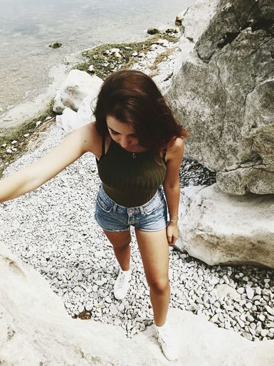 Climbing Rocks Girl White Sand Beach Summer Vacations Sunlight Fun Nature Happiness Real People People Girls One Girl Only Outdoors Leisure Activity Day
