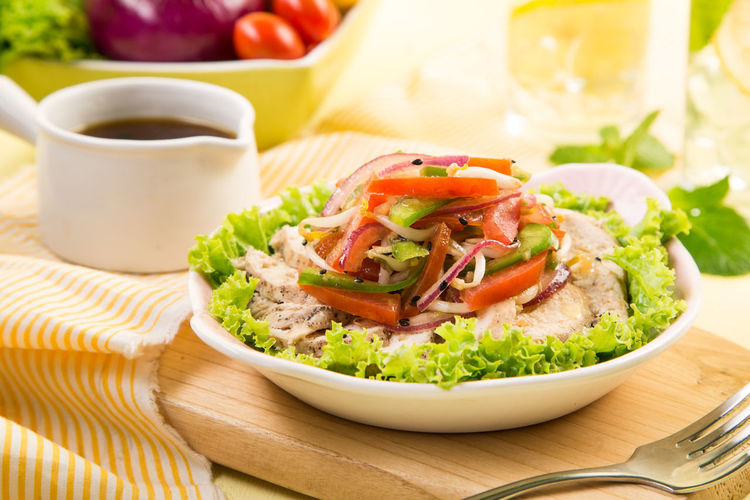 Close-Up Of Chicken Salad In Bowl