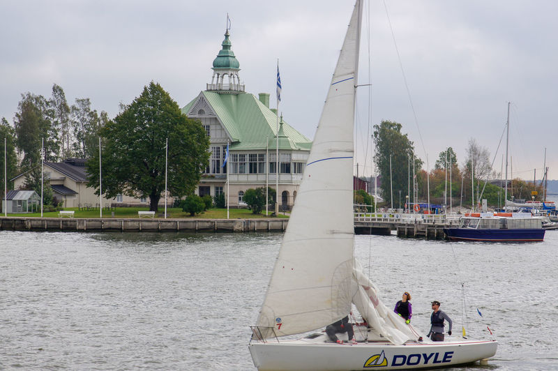 Sail Boat in Action Finland Helsinki Helsinki Finland Architecture Building Exterior Day Foreground Mode Of Transportation Nature Nautical Vessel Outdoors Sail Sail Boat Sailboat Sailing Transportation Water Waterfront