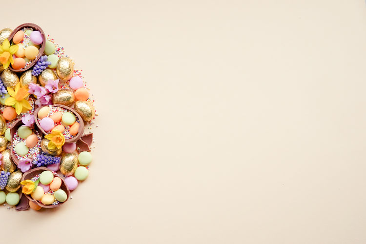 Multi colored candies on white background