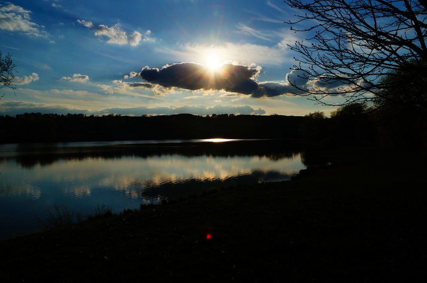 Sunset at the lake Dark Beauty In Nature Blue Day Lake Nature No People Outdoors Pilis Pilisszántó Reflection Scenics Silhouette Sky Sun Sunlight Sunset Tranquil Scene Tranquility Tree Water