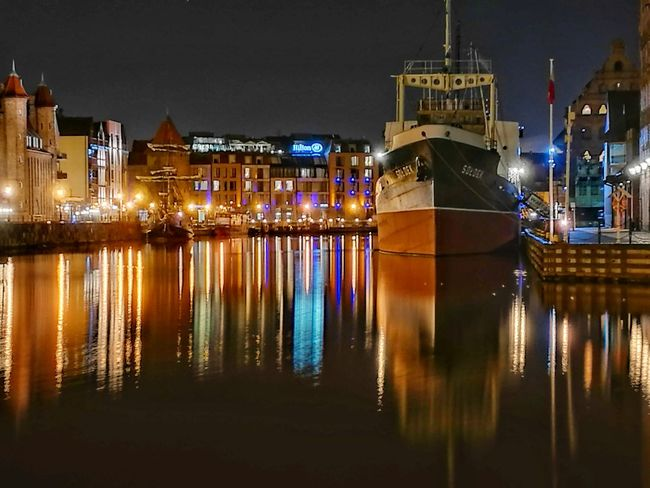 Night Illuminated Reflection Water Nautical Vessel Sky No People Gdansk, Poland Huawei P9. Colour Your Horizn