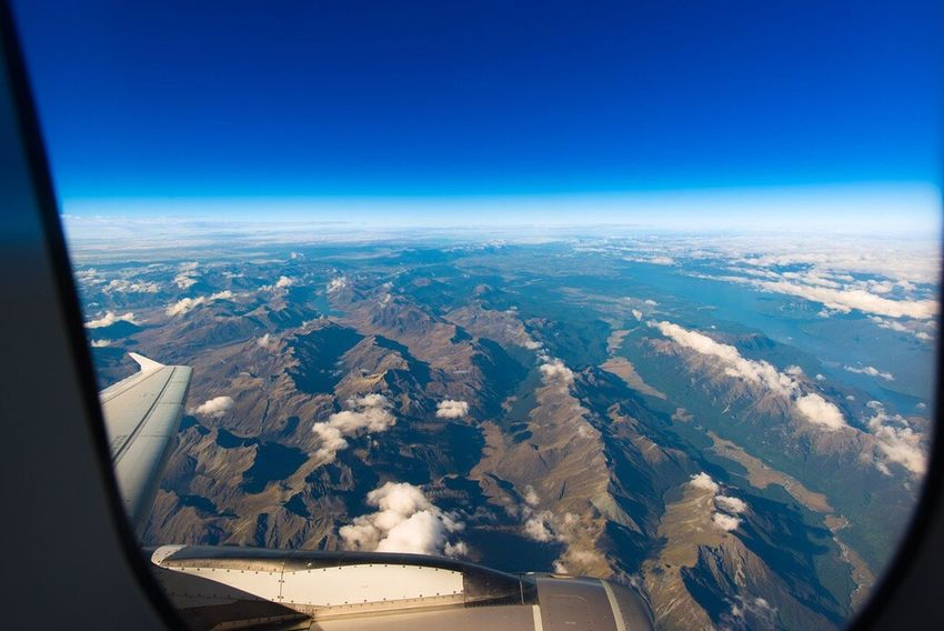 Window Seat, Somewhere over the South Island on the flight from Queenstown to Melbourne. On The Way Travel Aircraft Windowseat New Zealand A Bird's Eye View