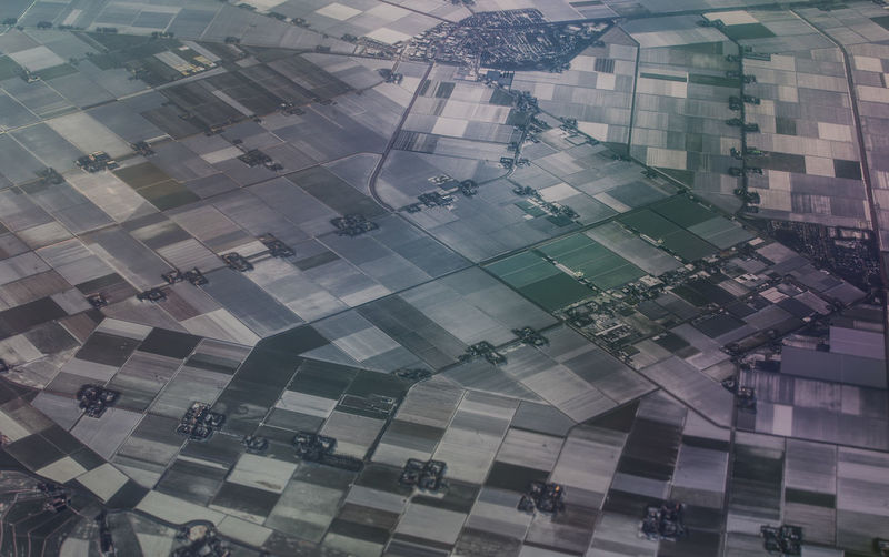 Precision Precise Landscape Agriculture From An Airplane Window View From Above Netherlands Amsterdam Ordered