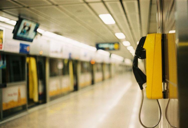 Telephone at railroad station platform