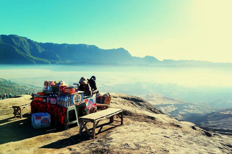 Nature Sky Mountain People Stall Bromo Dawn Sunrise