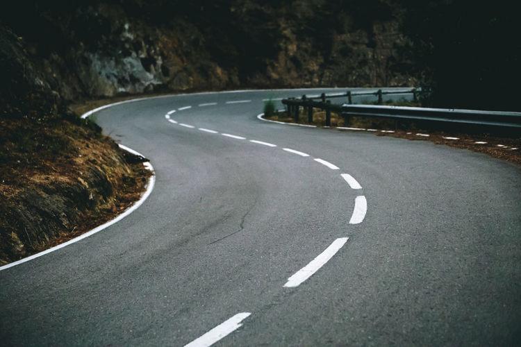Markings on empty road