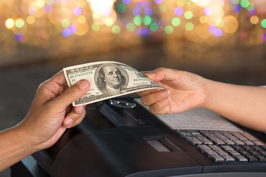 Cashier. Bokeh Lights Bribe Cash Money Cashier  Cashier Machine Dollar Bill Human Hands Money Change Pay Bill Retail Store