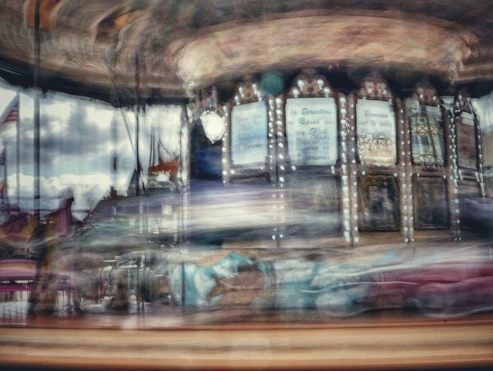 Window Long Exposure Arts Culture And Entertainment No People Day Amusement Park Ride Carousel TransportationBuilt Structure Indoors  Architecture Illuminated Sky