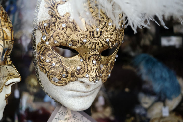 Close-up of mask in store for sale