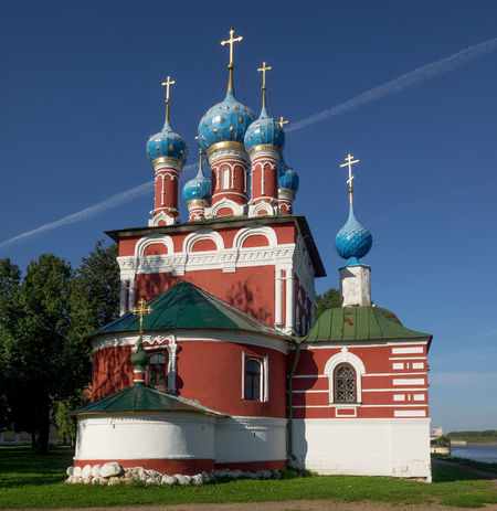 Russia, Uglich, Kremlin, Kremlin views Architecture Blue Built Structure Cloud Day High Section Nature No People Outdoors Place Of Worship Russia, Uglich, Kremlin, Kremlin Views Sky Travel Destinations