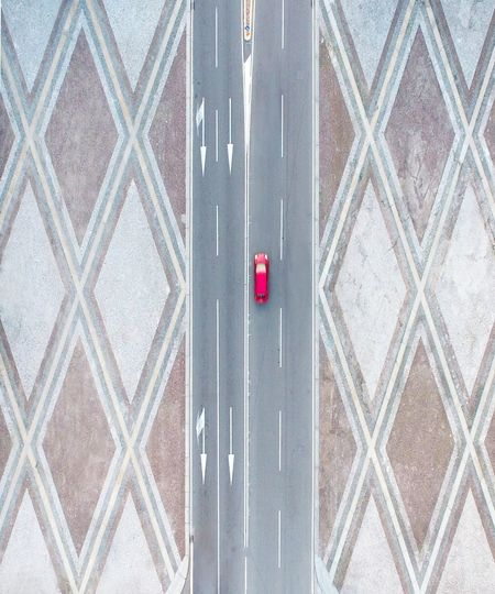 Full frame aerial shot of a car