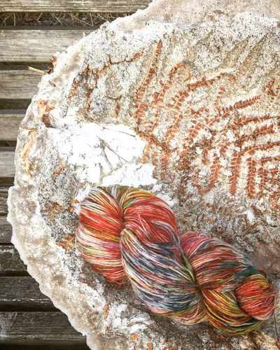 Indiedyed yarn in my own colouring. Enjoying Life Yarn Concrete