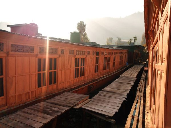 Beautiful House Boat in the Winter Morning in Dal Lake Outdoors No People Day Sky House Boat Winter Mountains And Sky AI Now EyeEmNewHere