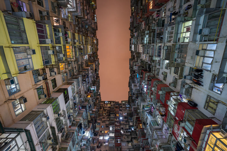 the amazing Yick Fat building during the night, Hongkong ASIA Architecture Hong Kong HongKong Hongkong Photos Low Angle View Modern Architecture Quarry Bay Urban Geometry Apartment Illuminated Man Made Object Man Made Structure No People Residential Building Street Photography Streetphotography Travel Destinations Urban Skyline Urbanphotography Yick Fat Building