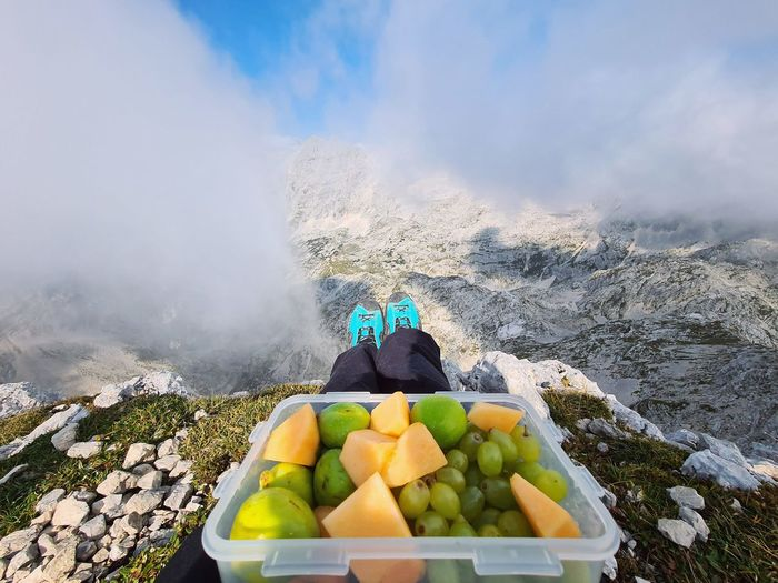 Healthy breakfast on the mountain top