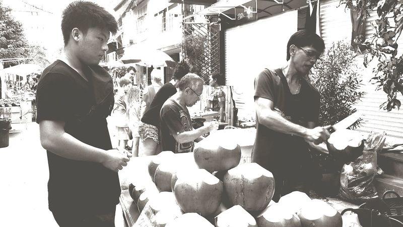 Coconuts Street Vendor Bophut_samui_thailand Black And White