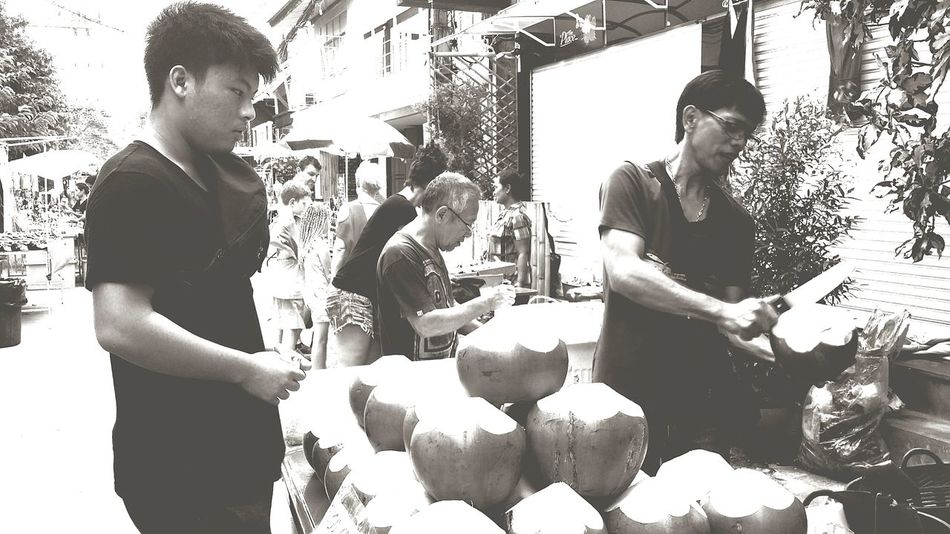 Coconuts Street Vendor Bophut_samui_thailand Black And White