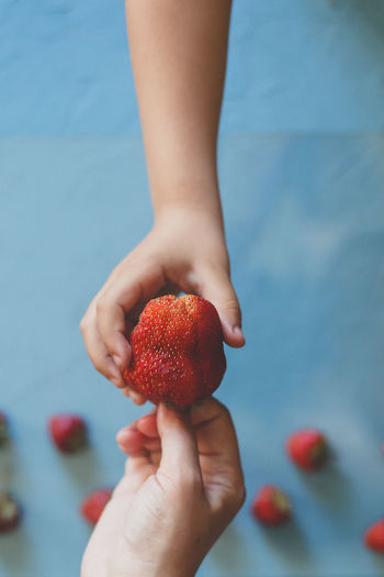 Directly above shot of cropped hands holding strawberry at home