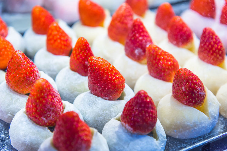 Daifuku Japan Japanese Food Market Bean Berry Fruit Close-up Daifuku Strawberry Dessert Food Food And Drink Freshness Fruit Fruitcake Healthy Eating Large Group Of Objects Mochi Raspberry Ready-to-eat Red Snack Still Life Strawberry Sweet Sweet Food