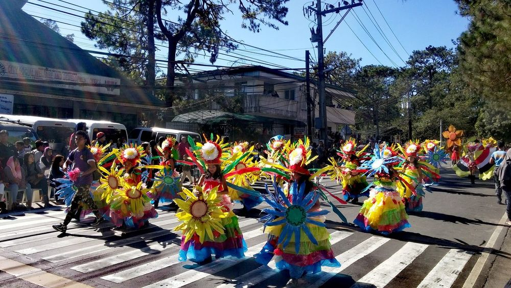 Philippines Baguio Panagbenga Flower Festival Colors Dance People Flowers Kids Costume