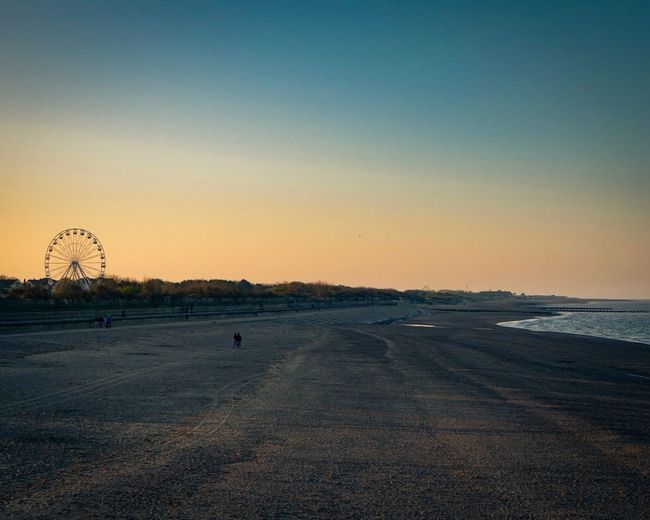 Looking north from Skegness Pier Sky Sunset Land Nature Scenics - Nature Beauty In Nature Beach Clear Sky Tranquility Water Tranquil Scene Sea Outdoors Horizon No People Orange Color Environment Horizon Over Water