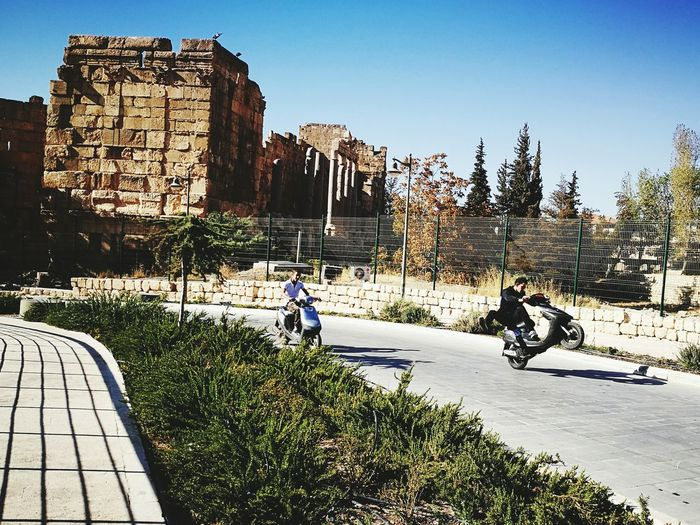 Architecture Outdoors Building Exterior Clear Sky Bike Middle East Travel Destinations Lebanon Leisure Activity Baalbek Ruins