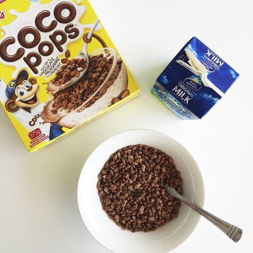 Coco Pops Cereal | IG: @sayinghello Breakfast Cereal Close-up Food Food And Drink High Angle View Meal Milk Minimal Minimalism Minimalist Thewhiteproject Whiteaddict Food Stories