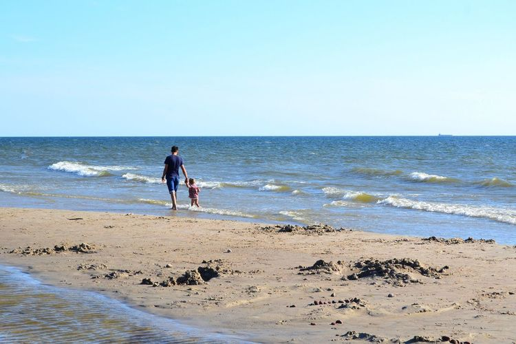 Family Father And Daughter Wave Water Clear Sky Sea Full Length Beach Sand Men Sport Sunny