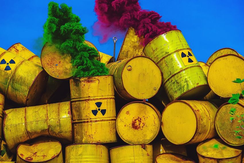 Colors are stronger Than Poison.. Scenics Scenery Day Outdoors Yellow Close-up Toxic Radioactive Catastrophy Radioactive Barrels Smoke Atmosphere Catastrophe Dangerous Danger Radioactive Poisonous Poison Barrels Industry Colors Piled Up Toxic Substance Yellow Barrel Industrial Pile Science And Technology No People Barrel Drum - Container Sky