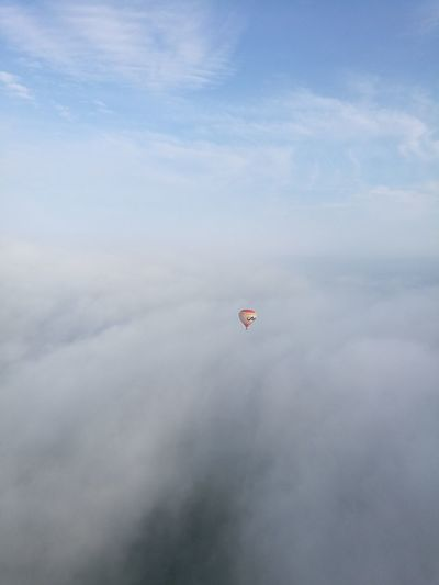 Peaceful Peace And Quiet Airballon Aerostat Aerostatic Ballon Sky And Clouds View From Above AirBalloon Sunrise Unreal Unreal Beauty Flying Cloud - Sky Sky Transportation Mid-air Day Adventure Air Vehicle Nature Freedom Low Angle View Outdoors Extreme Sports Fog Blue No People Sport Leisure Activity