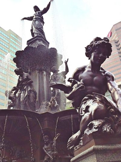 Faces Of Summer Cincinnati The Street Photographer - 2015 EyeEm Awards Fountain Square Statue Iphonephotography My Best Photo 2015 Kneeling Down Blessing