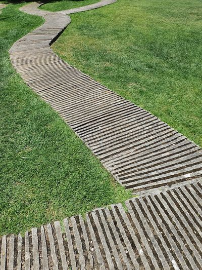High angle view of boardwalk on field