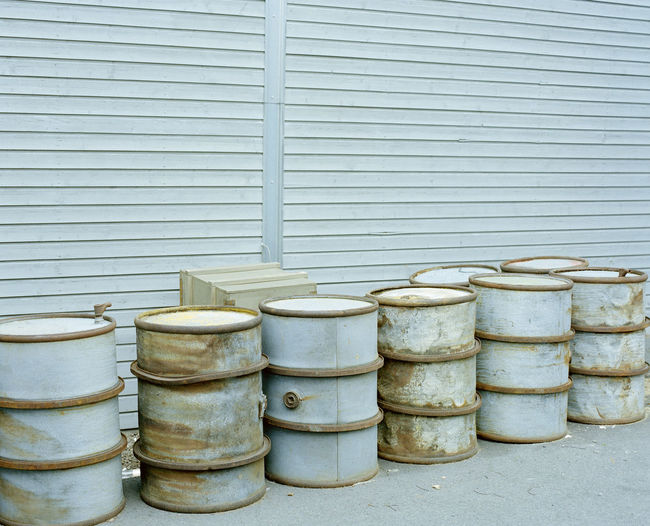 Metallic barrels against shutter