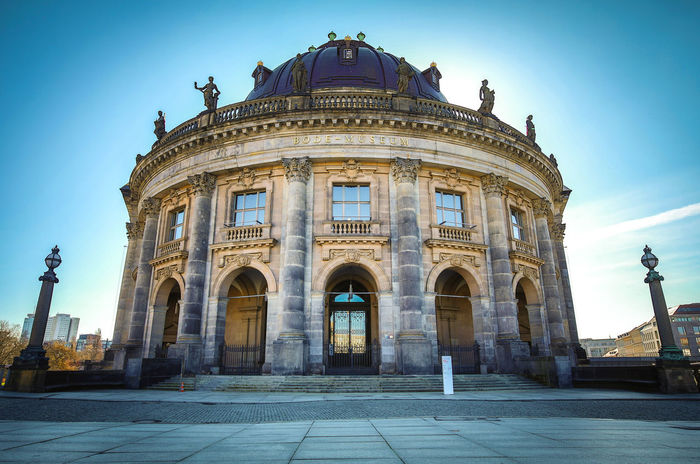 Bode Museum beautiful building on clear blue sky Architectural Column Architecture Attraction Berlin Bodemuseum Bodensee Building Exterior Built Structure City Clear Sky Day Destination Dome Façade History Museum No People Old Building  Outdoors Sky Travel Travel Destinations