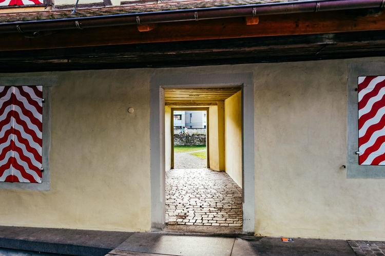 Cobblestone doorway in building