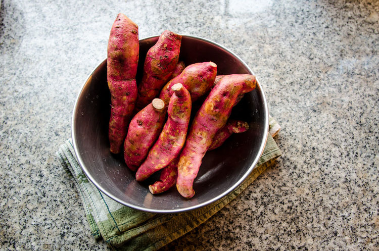 Sweet potatoes Food And Drink Bowl Food Food And Drink Freshness Healthy Eating High Angle View Indoors  Ingredient Kitchen No People Sweet Potatoes