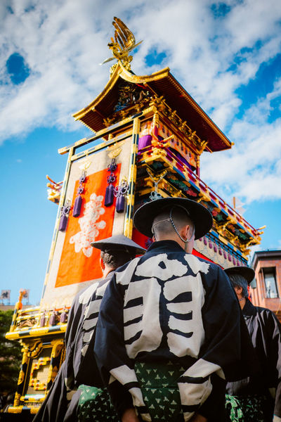 Architecture Built Structure Casual Clothing Cloud Cloud - Sky Day Japan Japanese Culture Kagura Leisure Activity Lifestyles Low Angle View Matsuri Outdoors Sky Temple - Building Tourism Travel Destinations