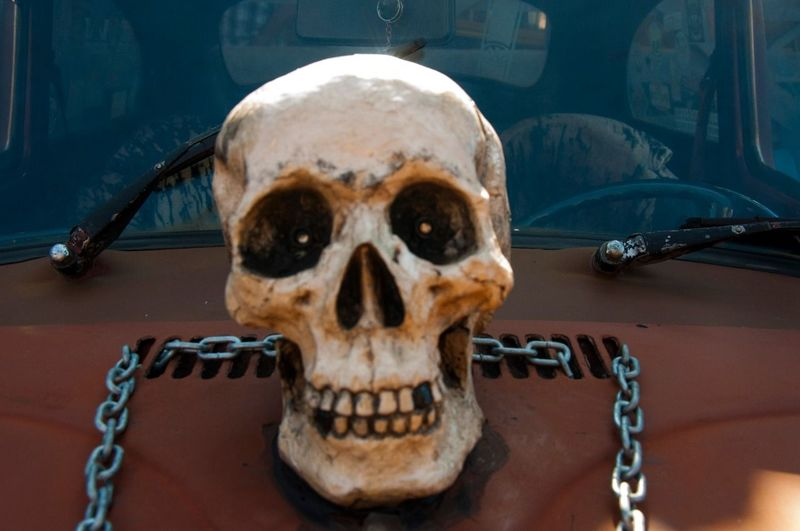 Human Skull Spooky Outdoors Lifestyle Photography Lifestyles CarShow Car Skullart Skull Face Skulls And Bones Decorative Oldcar Skull Fusca Fuscagram Fuscão Day Sculpture Statue Close-up