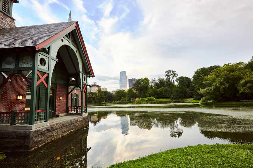 Central Park Architecture Building Building Exterior Built Structure Cloud - Sky Day Green Color House Lake Nature No People Outdoors Plant Reflection Residential District Sky Tree Water