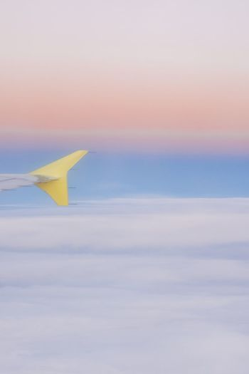 Pastel Sky Sky Plane Yellow No People Nature Flying Water Beauty In Nature Sea Go Higher