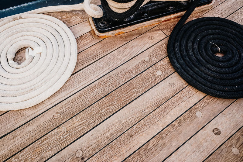 High angle view of tire on wooden table