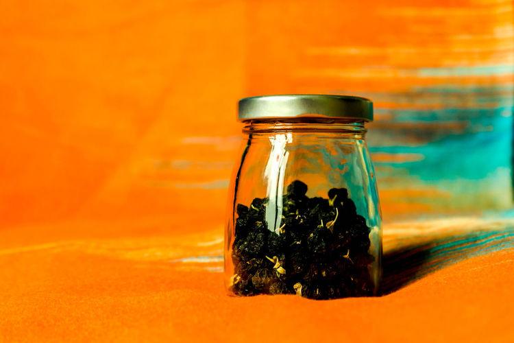 Close-up of glass jar