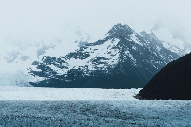 View of mountains and perito moreno glacier