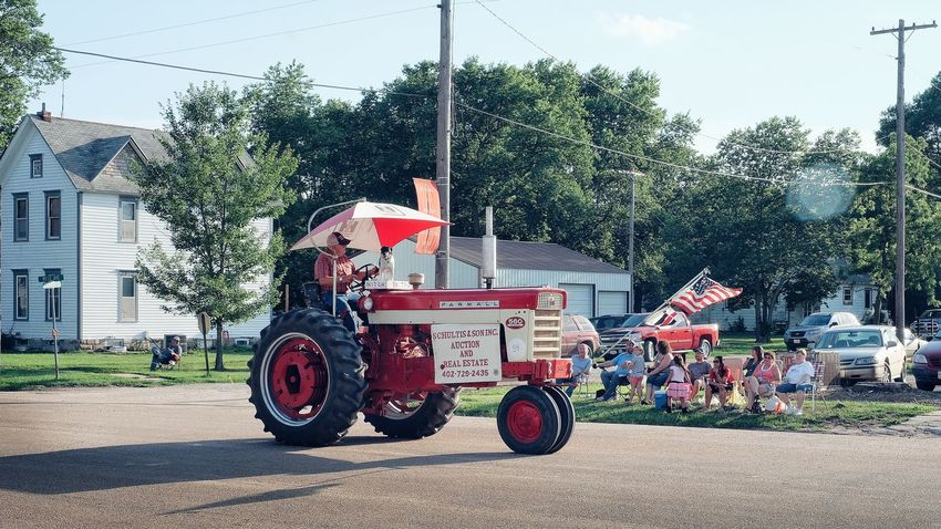 Parade 2016 Old Settlers Picnic Village of Western, Nebraska A Day In The Life Americans Celebration Community Dog Farmer Land Vehicle Main Street USA Mode Of Transport Old Settlers Picnic Outdoors Parade Photo Essay Roadside Rural America Small Town Life Small Town USA Storytelling Tractor Western Nebraska