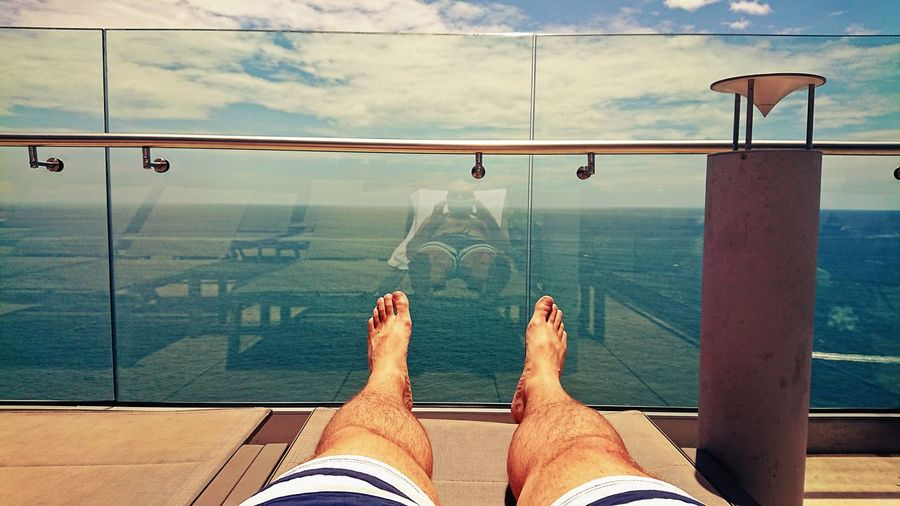 Low Section Water Human Leg barefoot Men Personal Perspective Human Foot Sky